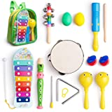 Musical Instruments Toys Set for Kids, Toddlers, Pre-School, Includes Xylophone, Maraca, Egg Shaker, Flute, Tambourine, Bell Stick, Finger Clapper, Triangle, Tone Blocks with Carry Backpack