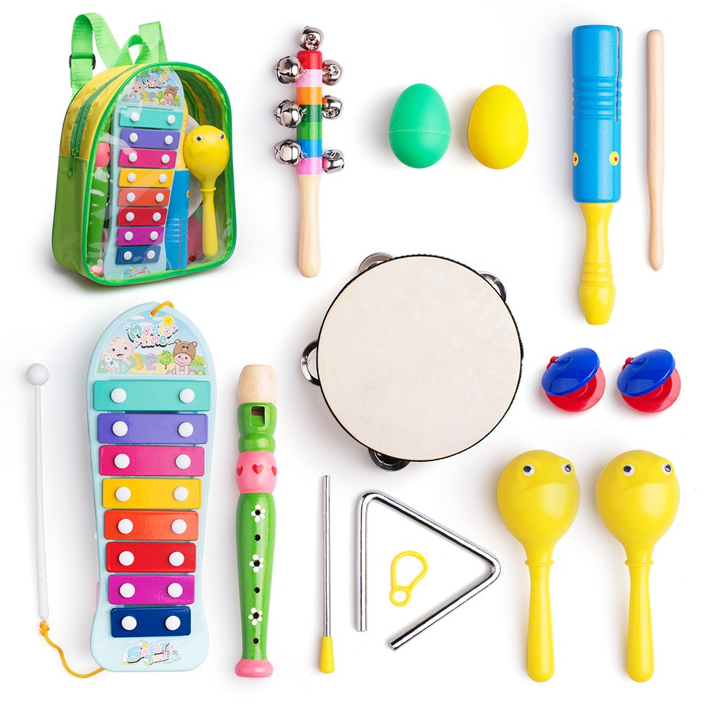 Musical Instruments Toys Set for Kids, Toddlers, Pre-School, Includes Xylophone, Maraca, Egg Shaker, Flute, Tambourine, Bell Stick, Finger Clapper, Triangle, Tone Blocks with Carry Backpack Frunsi