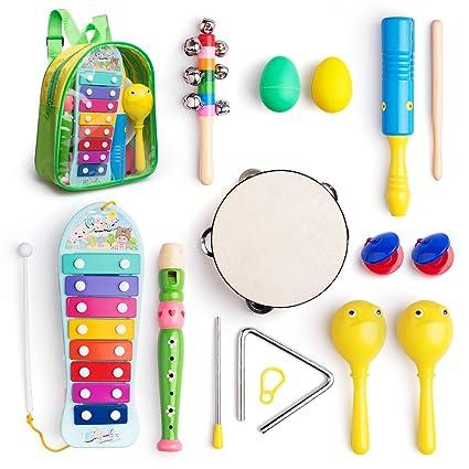 Instrumentos musicales juguetes Set para niños, bebés, preescolar, incluye xilófono, Maraca,