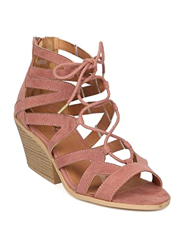 74920a9385d3 Qupid Women Faux Suede Open Toe Lace Up Caged Chunky Heel Sandal GE19 -  Mauve (