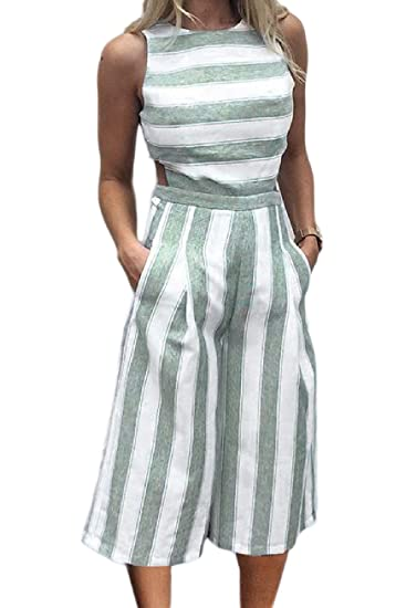 2ed86cd4153 Vepodrau Womens Romper Backless Linen Stripes Cropped Wide-Leg Jumpsuits  Green XS