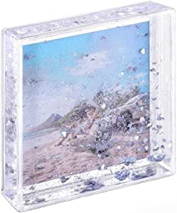 Kingho 4x4 Glitter Picture Frame Cute Liquid Acrylic Photo Frames for Family Friends Couples Gifts, Mount for 4x4 inch (10x10 cm) Picture