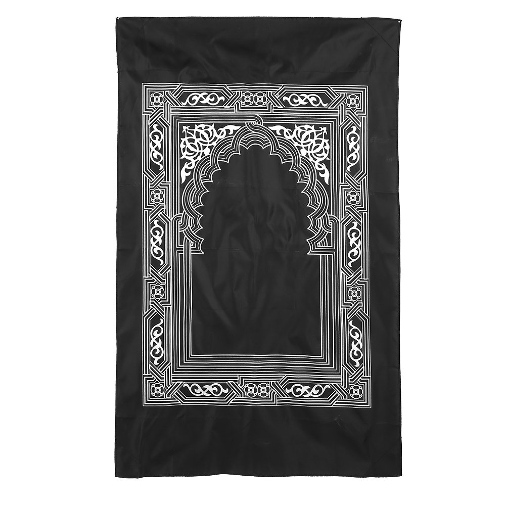 Islamic Prayer Rug, Prayer Mat Muslim Attached Compass Prayer Rug, Muslim Sajadah Namaz Janamaz Prayer Carpet Floral(Black) Walfront