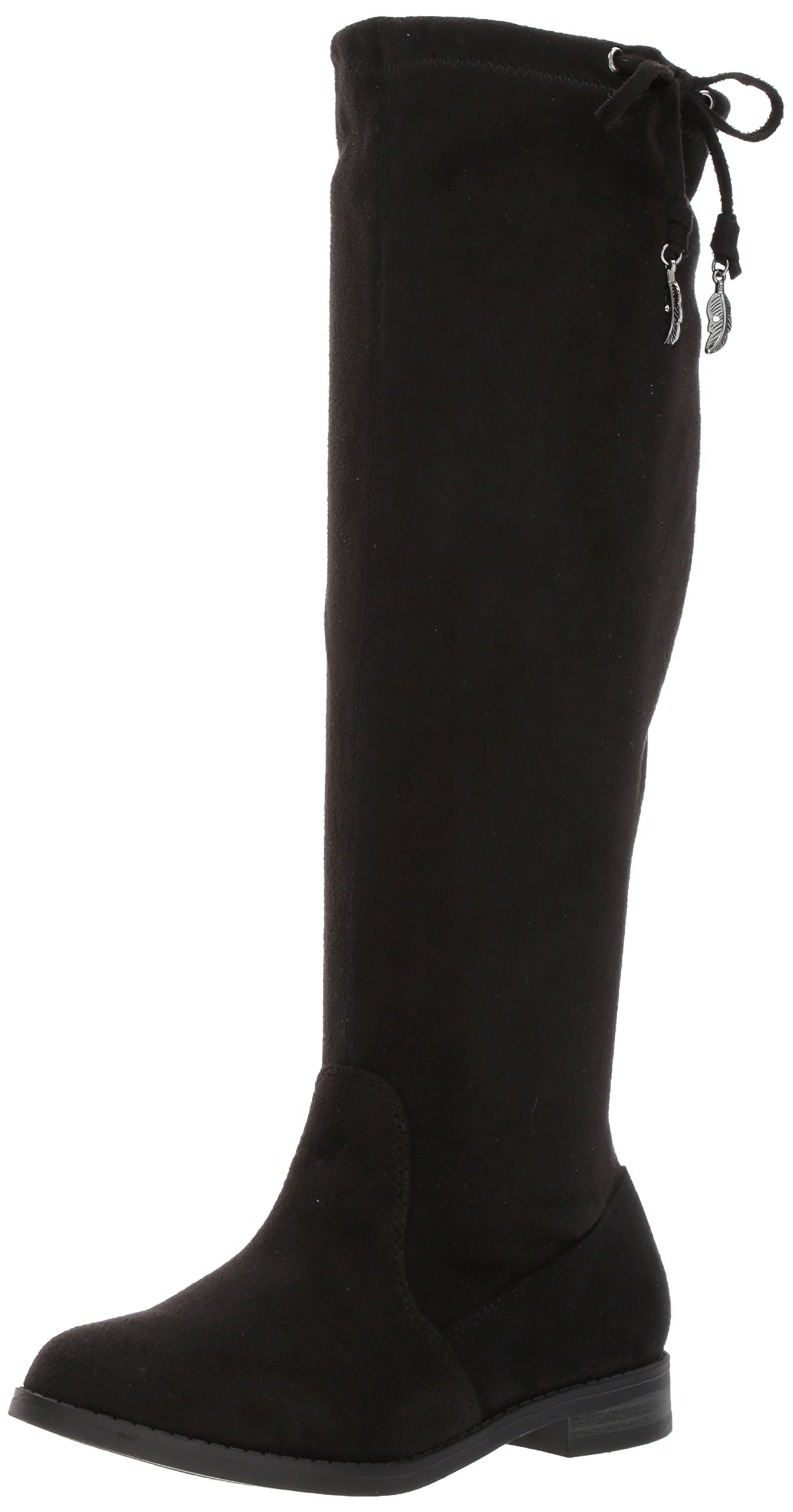 Jessica Simpson Girls' ISSA Slip-on, Black Stretch Microsuede, 4 M US Big Kid