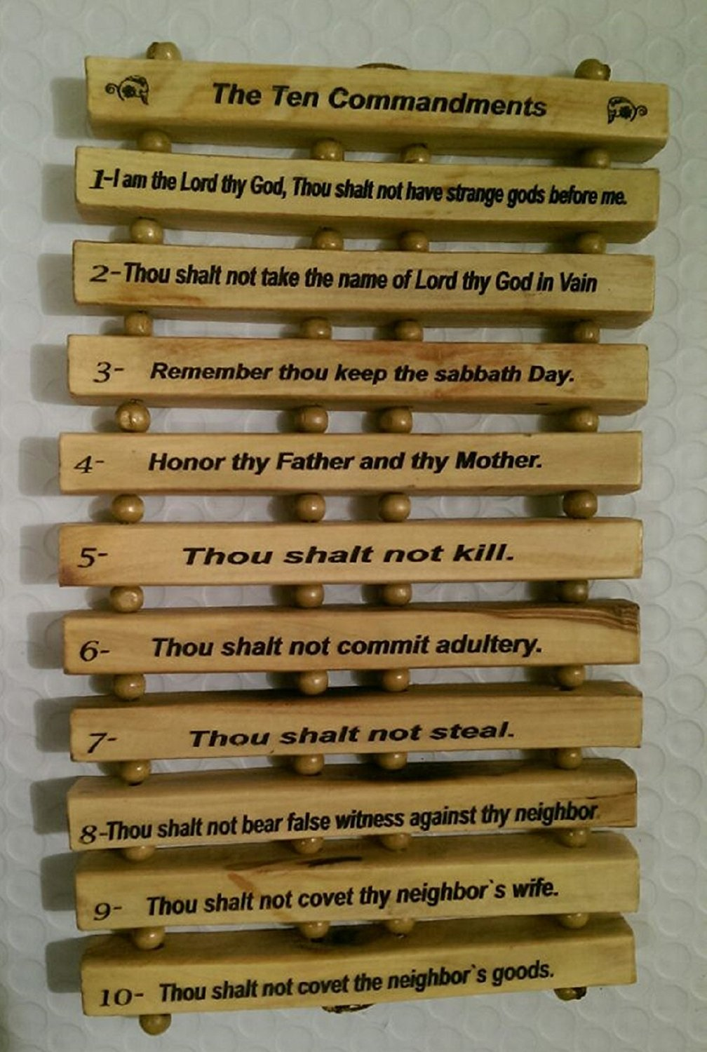 Olive Wood Hanging English Engraving of the Ten Commandments by Bethlehem Gifts TM owtc10