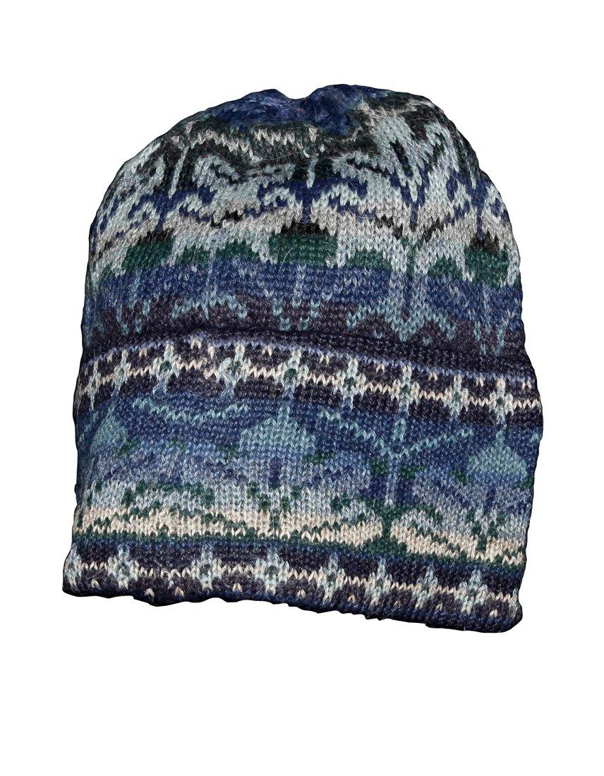 Invisible World Women's 100% Alpaca Wool Hat Knit Beanie Winter Winter Blue Lg