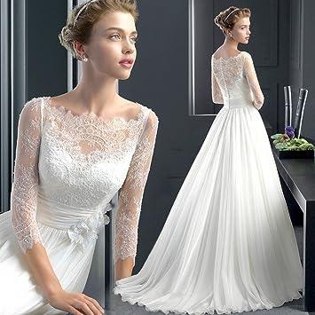 Vestidos de novia con cola y manga larga