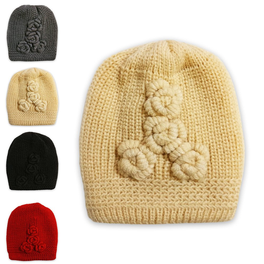 Berretto invernale da donna a maglia intrecciata con decorazione con rose, caldo berretto invernale per ragazze Cream LIVERPOOL ENTERPRISES LTD