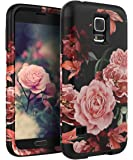 TIANLI Samsung Galaxy S5 Case Cute Flowers for Girls/Women Smooth Surface Three Layer Shockproof Protective Cover,Floral Black