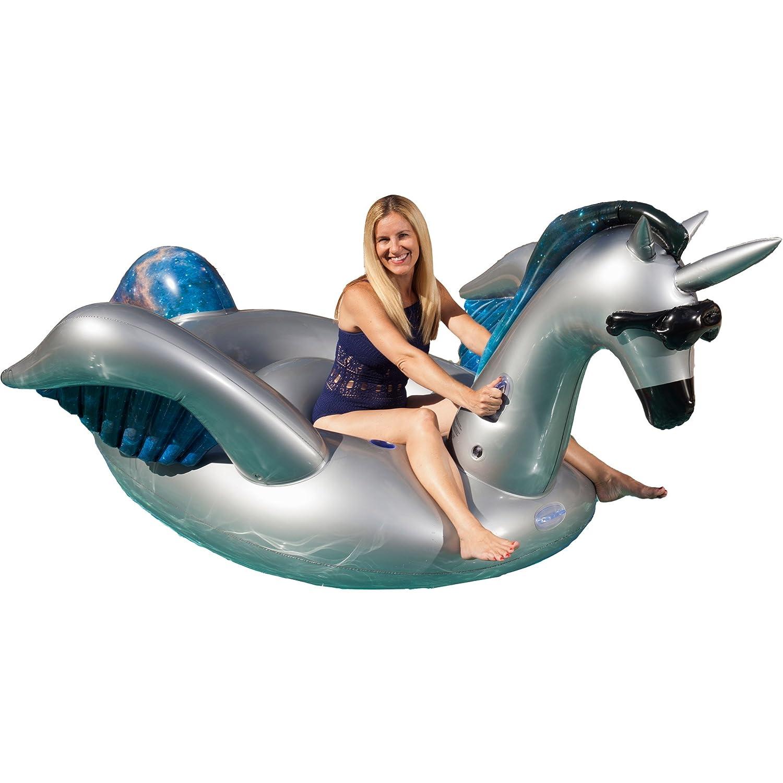 Juego gigante inflable Ride-on Alicorn Unicorn Pegasus piscina flotador, Negro (Mystic)