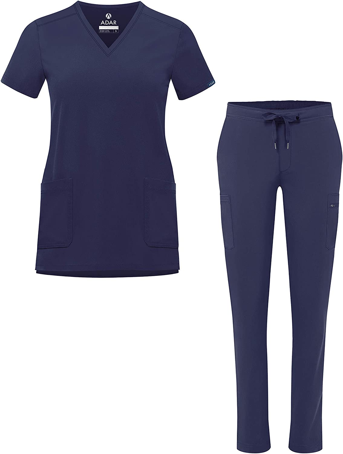 Adar Addition Go-Basic Scrub Set for Women - Slim V-Neck Scrub Top & Skinny Cargo Scrub Pants: Clothing