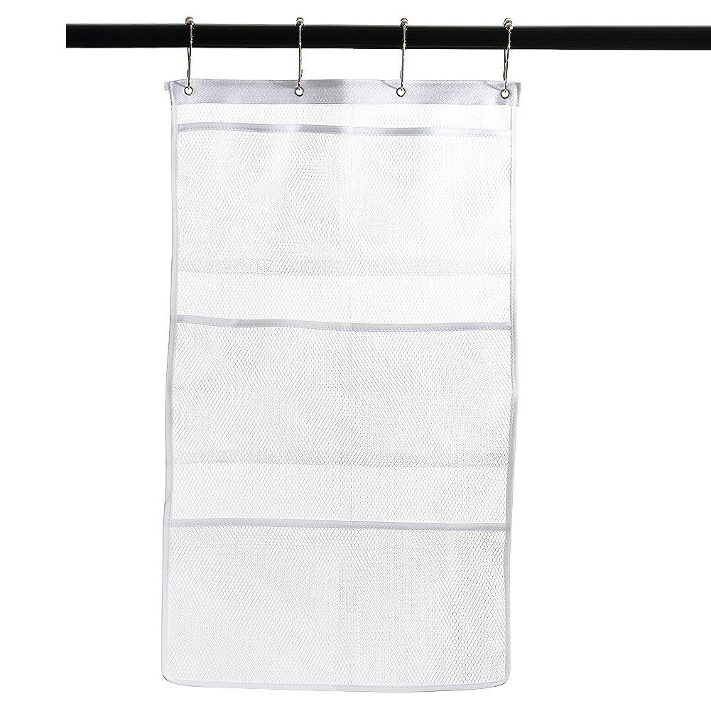 Adeeing Fast Dry Hanging Mesh Bath Shower Caddies Shower Organizer With 6 Clear Storage Dispenser Pockets Bathroom Holder (White)