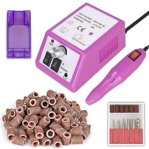 Herramienta de manicura de máquina de pulidode uñas eléctrica profesional con una gran bolsa de anillos de molienda gratis Manicura Pedicura eléctrica Limas de uñas +100 anillo de molienda Rosa