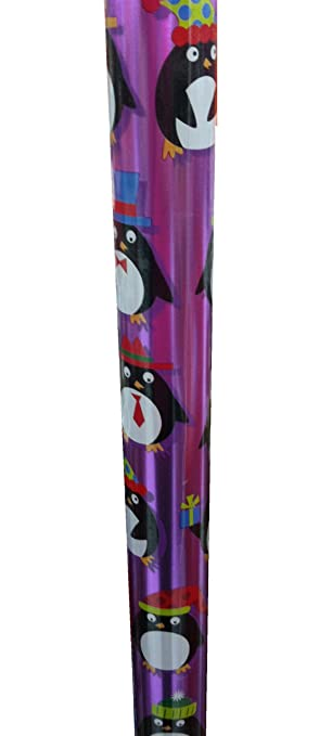 Holiday Penguins Foil Gift Wrap Wrapping Paper 90 Sq Ft