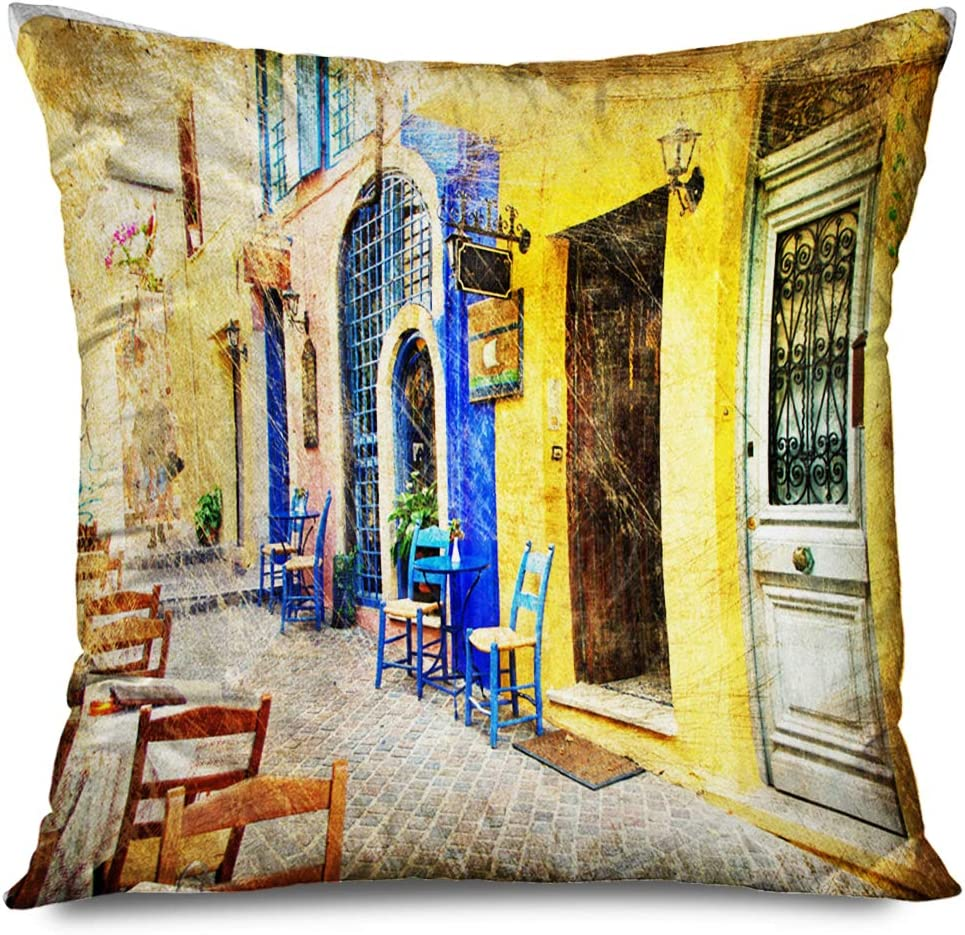 Ahawoso Throw Pillow Cover Square 18x18 Yellow Greek Colors Sunny Greece Retro Styled Artistic Crete Taverna Architecture Old Courtyard Decorative Pillowcase Home Decor Zippered Cushion Case