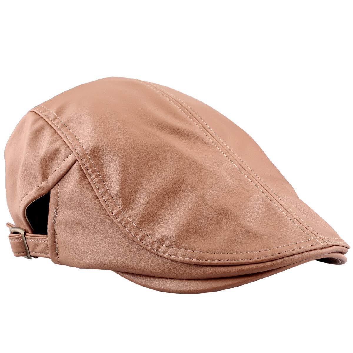 KYEYGWO Flat Caps Men, PU Leather Newsboy Peaked Cabbie Ivy Gatsby Beret Hat Driving Cap EYOW0008401