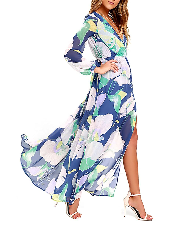 fd184187ebbb9 BoBoLily Vestiti Donna Eleganti Lunghi Abiti Da Giorno Chic Unique Mare  Stampato Floreale Vestito Primavera Manica Lunga V Scollo Spacco Casual  Spiaggia ...
