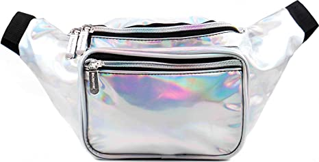 38e96ada0ec4 SoJourner Holographic Rave Fanny Pack - Packs for festival women, men |  Cute Fashion Waist Bag Belt Bags (Silver)