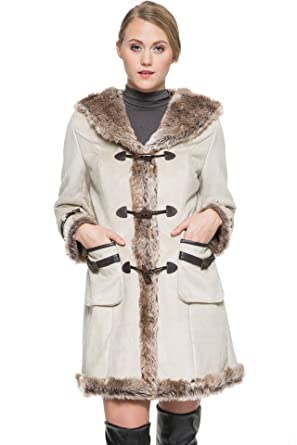 Ovonzo Women's Beige Faux Shearling Duffle Coat with Hood XS at ...
