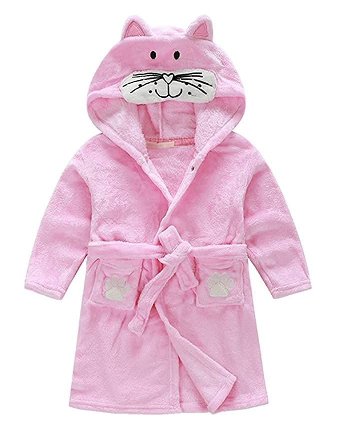 1f677d1b3 Amazon.com: Toddler/kids Hooded Plush Robe Animal Fleece Bathrobe Children  Pajamas Sleepwear: Clothing