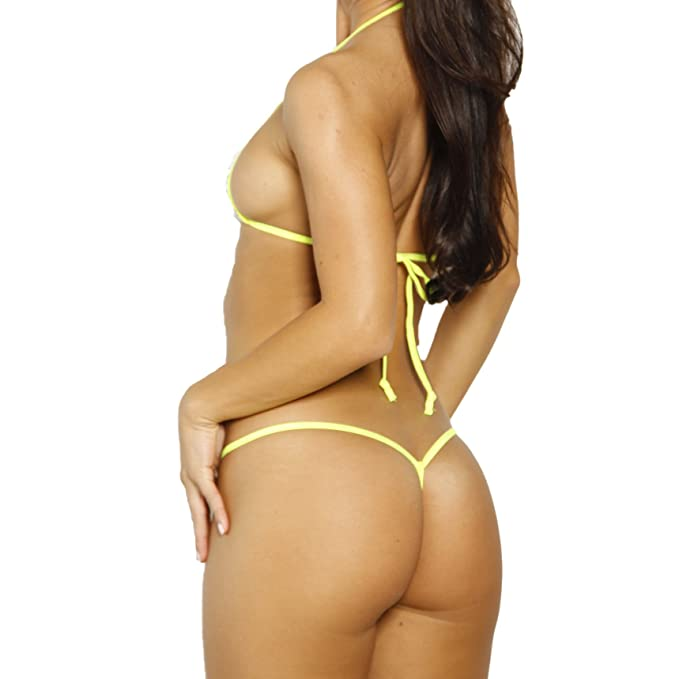 3bcd38e6988e Amazon.com: Bitsy's Bikinis Micro G-String -White Athletic Fishnet Neon  Yellow String -Sheer: Clothing