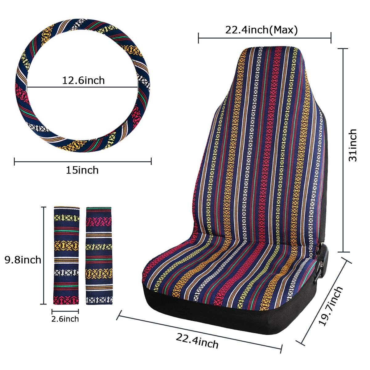 INFANZIA Baja Front Seat Covers Saddle Blanket Auto Seat Cover with Seat Belt Covers Fit Car Truck Van SUV 4Pcs Blue