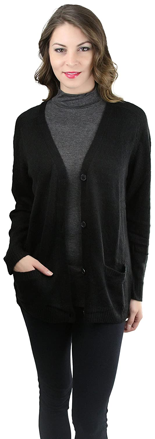 7e4b9723914 ToBeInStyle Women's Long Sleeve Deep V-Neck Knitted Button Up Cardigan  Sweater