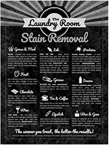 Wall Decoration Sign,12x8Inch Stain Removal Guide for Decorating Laundry Room,Sewing Room,Laundromat 3105 Metal Poster Plaque Warning Sign Iron Painting Art Decor for Bar Cafe Garden Office Hotel