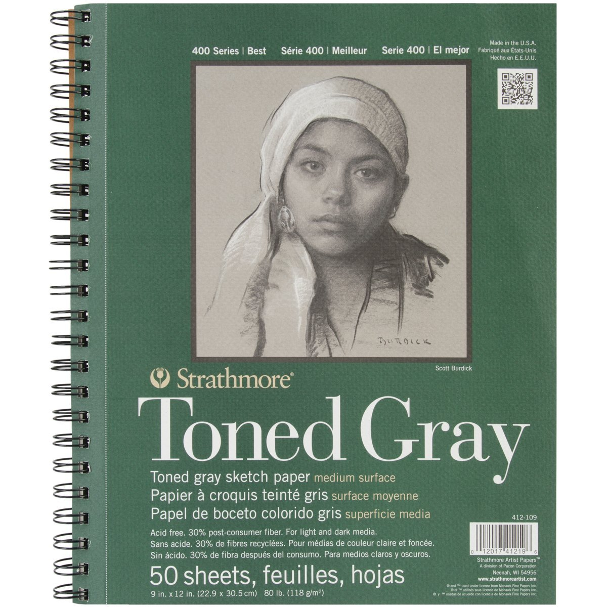 Strathmore 412-109 400 Series Toned Gray Sketch Pad 50 Sheets Each 2-Pack 9x12 Wire Bound