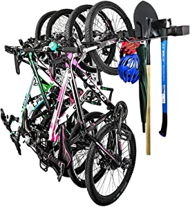 ACTION CLUB Cycle Bike Storage Rack Holds 4 Bicycles Wall Mount Heavy Duty Bicycles and Tools Hanger for Home and Garage Shed Storage System
