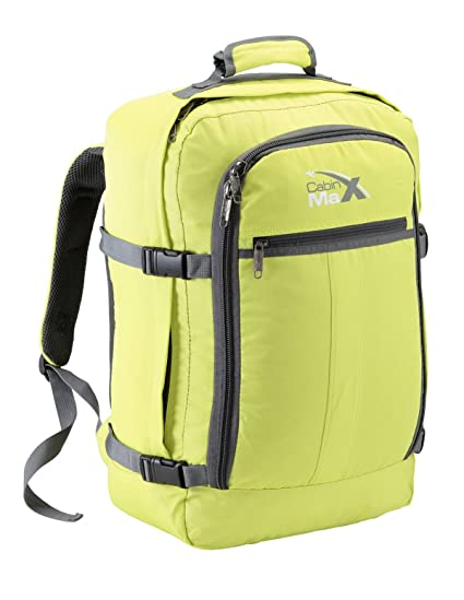 8483356a24 Cabin Max Metz Backpack Flight Approved Carry on Bag 44 Litre Travel Hand  Luggage - 55x40x20 (Green)  Amazon.co.uk  Clothing