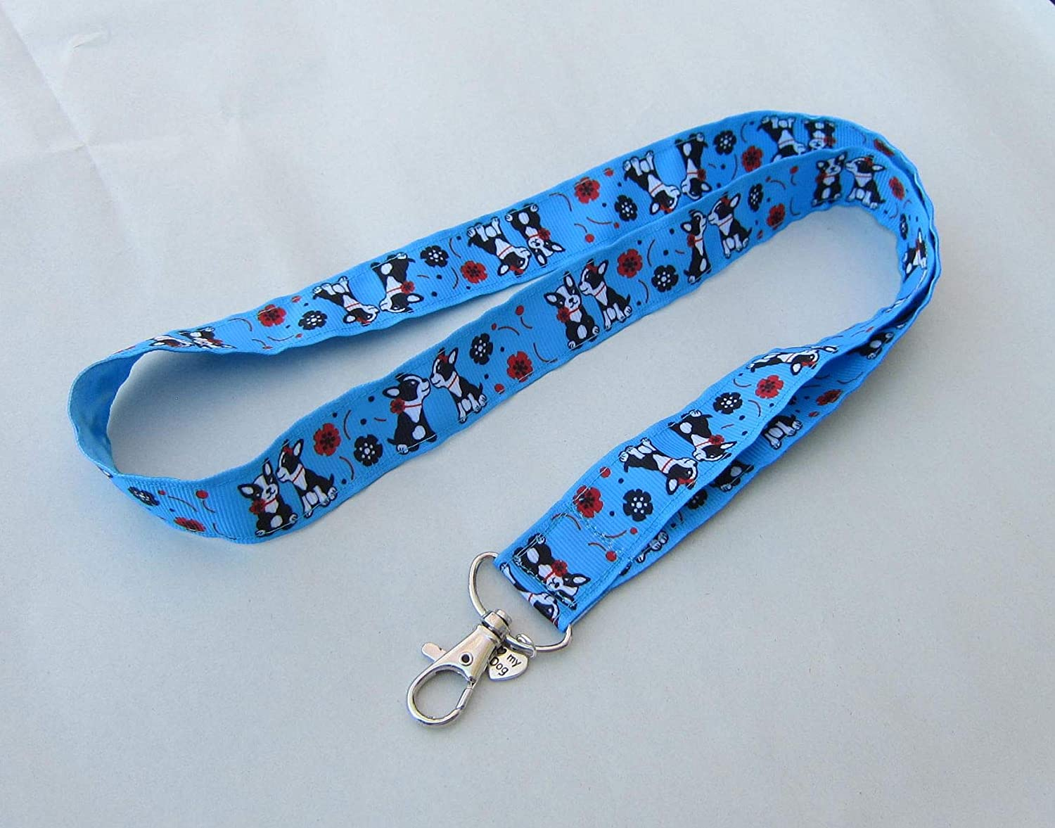 BOSTON TERRIER Dog Breed Ribbon Lanyard//Keychain//Badge Holder w//Metal Charm