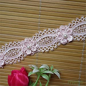 2 Meters Flower Pearl Eyelash Lace Edge Trim Ribbon 3 cm Width Vintage Style Pink Edging Trimmings Fabric Embroidered Applique Sewing Craft Wedding Dress Embellishment Decor Clothes Embroidery