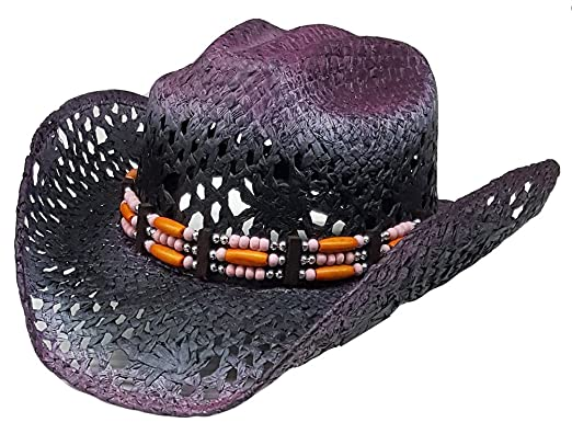 7d75a4baf685d Modestone Women s Straw Cowboy Hat Purple  Amazon.co.uk  Clothing