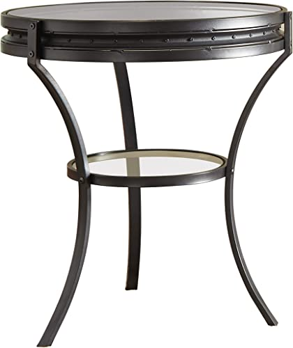 Coaster 705217-CO 1 Shelf Round Glass Top End Table