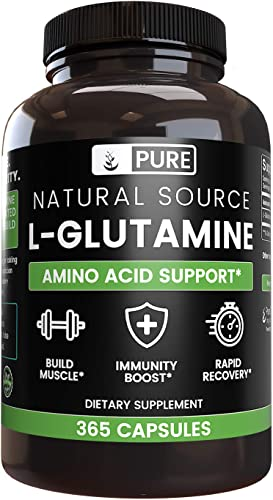 100 Pure L-Glutamine, 365 Capsules, 6-Month Supply, No Magnesium or Rice Filler, Non-GMO, Gluten-Free, Made in USA, Naturally-Sourced and Potent L-Glutamine Amino Acid with No Additives