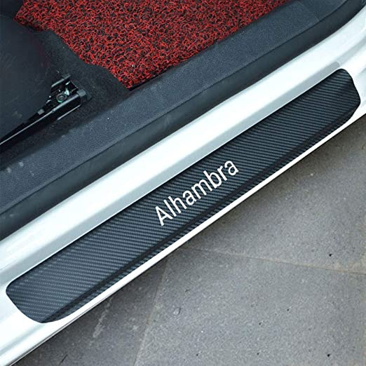 DAETNG 4pcs Car Door Sill Scuff Plate Auto Threshold Cover Panel Carbon Fiber Vinyl Step Protective Strips Film for Seat Alhambra Welcome Pedal Decorative Sticker