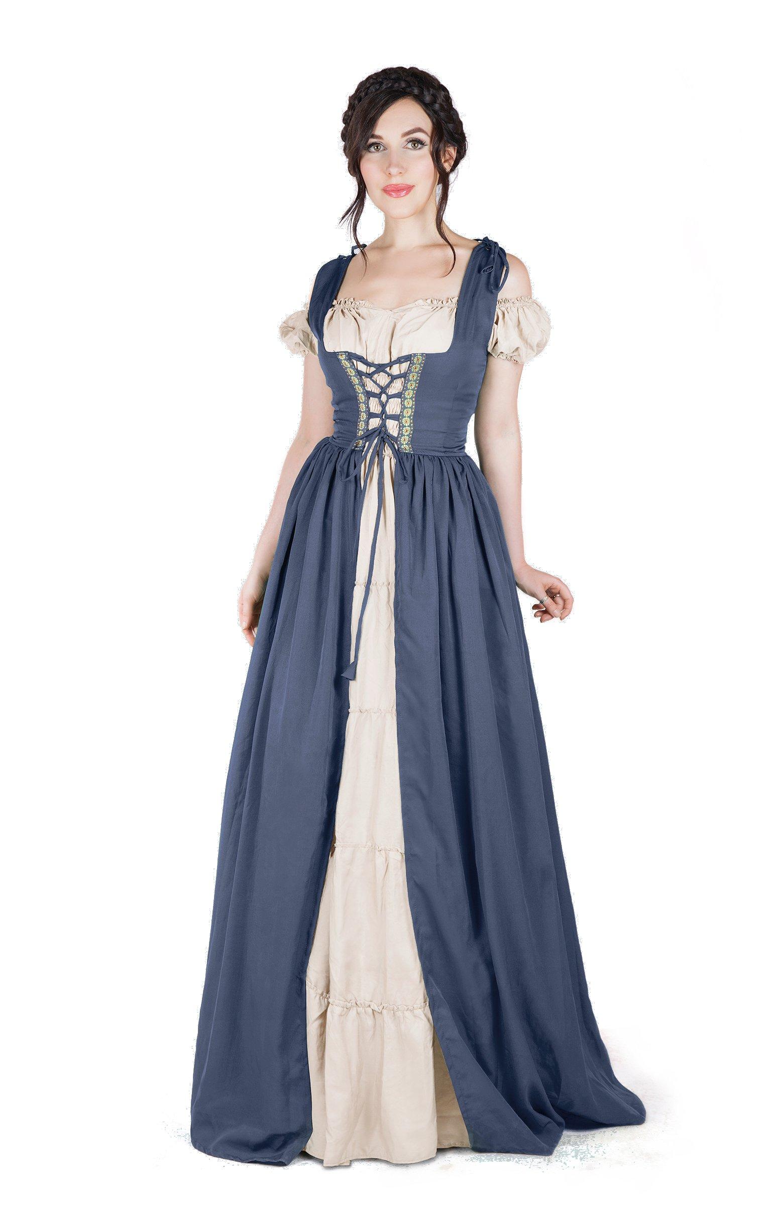 Renaissance Medieval Irish Costume Over Dress & Boho Chemise Set (S/M, Charcoal)