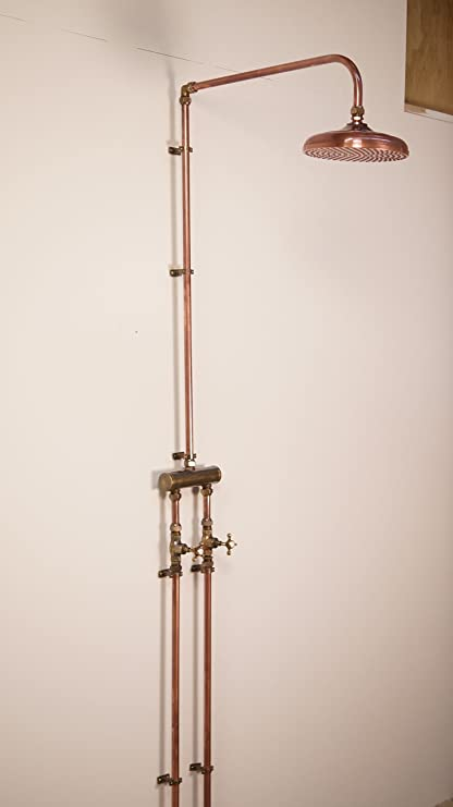 Outdoor Twin Supply Full Length Shower 250mm Antique Copper