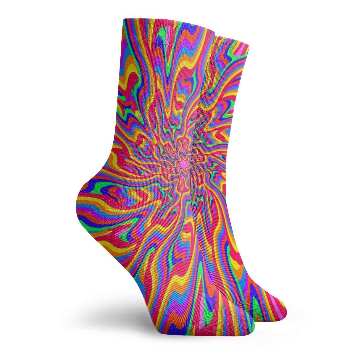 fond psych/éd/élique vif abstrait et color/é fabriqu/é dans un style old school Ale haung Chaussettes pour femmes taille 10-12