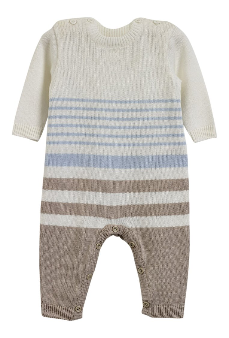 Natures Knits Stripe All In One Blue&Mink Striped 3-6months Organic Cotton Baby Suit Natures Purest