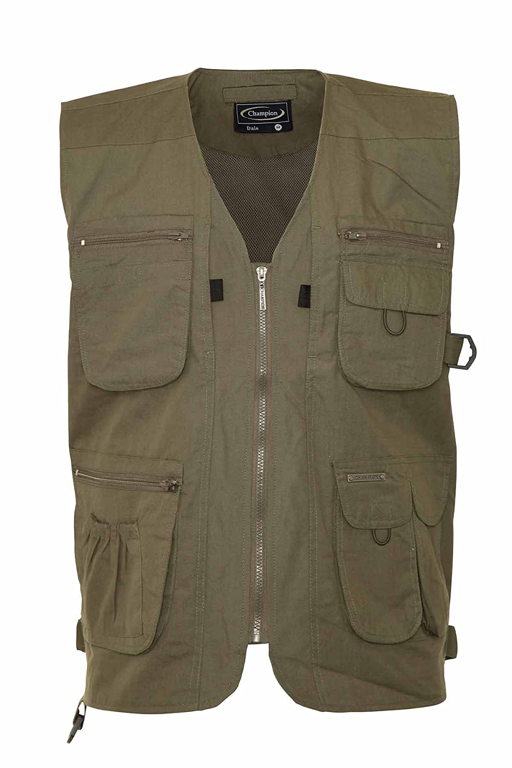 Mens Summer Waistcoat With Multi Pockets Outside Gilets (Medium, Olive)