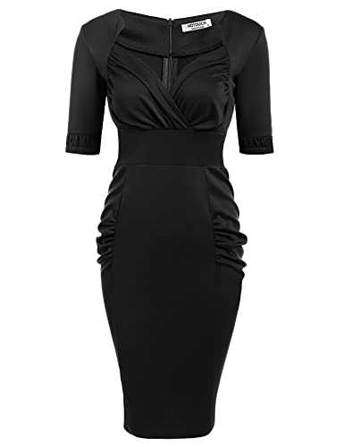 HOTOUCH Women's Vintage 1950s Half Sleeve Pleated Business Pencil Dress