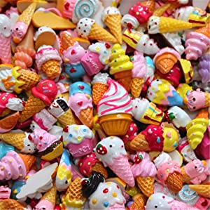 30 Pack Cute Candy Slime Beads Fruit Dessert Ice Cream Resin Charms Slices Flatback Buttons for Handcraft Accessories Scrapbooking Phone Case Decor (Ice Cream)