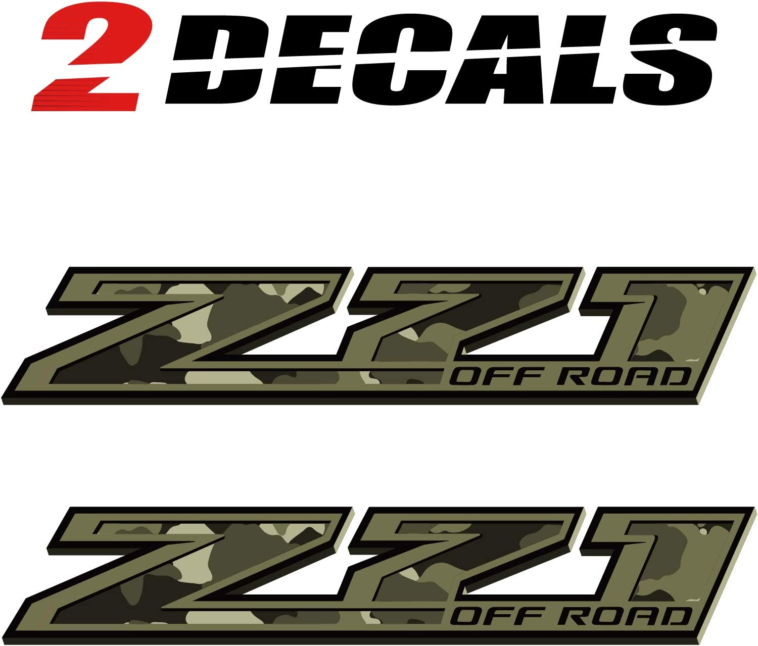 Set of 2 TiresFX Chevy Silverado Camo Z71 Offroad Military Truck Stickers Decals Bedside