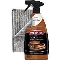Weiman Leather Cleaner and Polish for Furniture with Microfiber Cloth - Non Toxic Clean and Condition Car Seats, Shoes, Couches and More - 22 Fluid Ounces