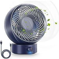 RenFox bureauventilator, geruisloze USB-koelventilator, instelbare snelheid en hoek, 5 bladen
