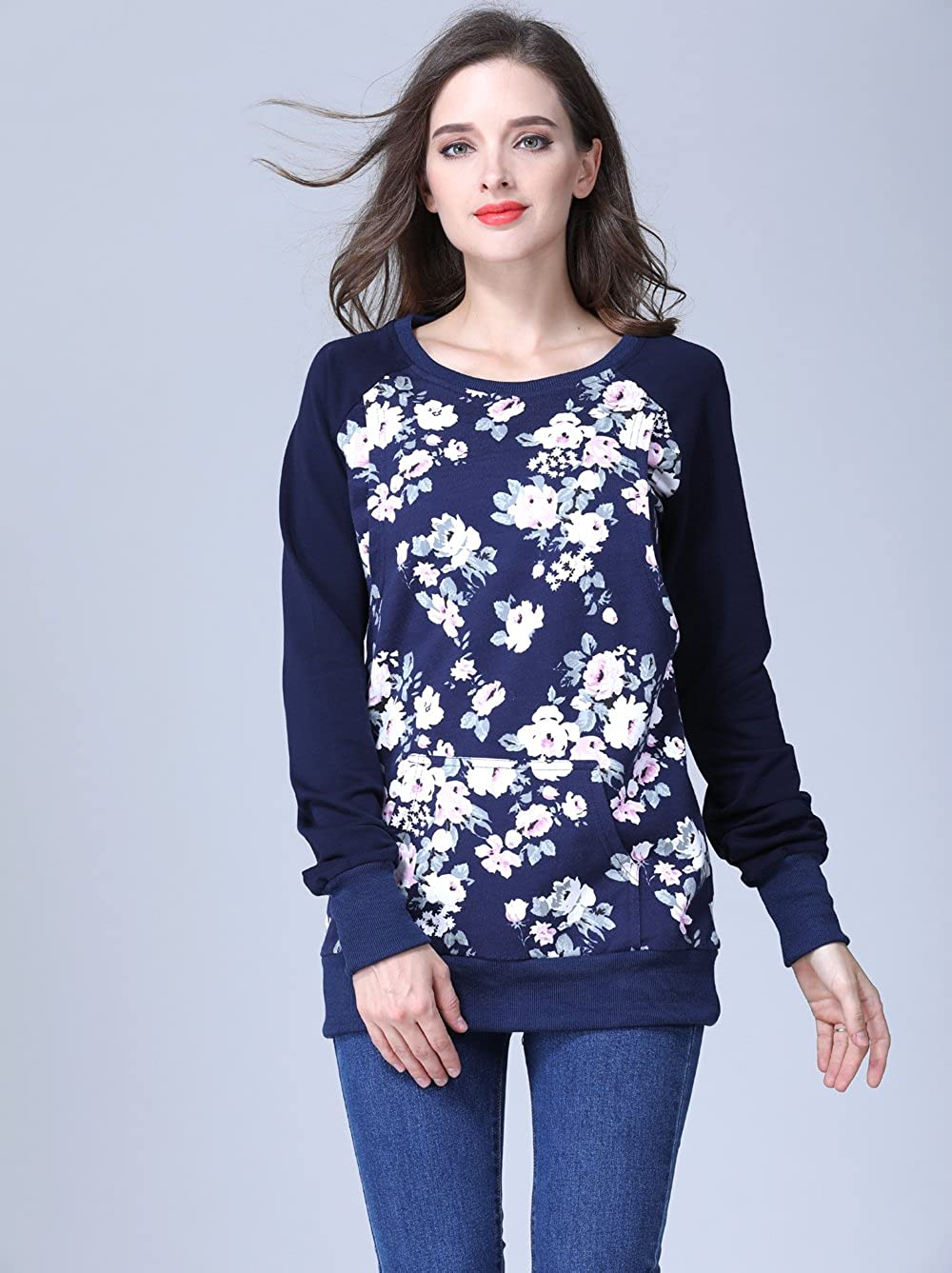 f124d77886f1d Emotion Moms Long Sleeve Winter Maternity Clothes Cotton Nursing  Breastfeeding Tops for Pregnant Women at Amazon Women's Clothing store: