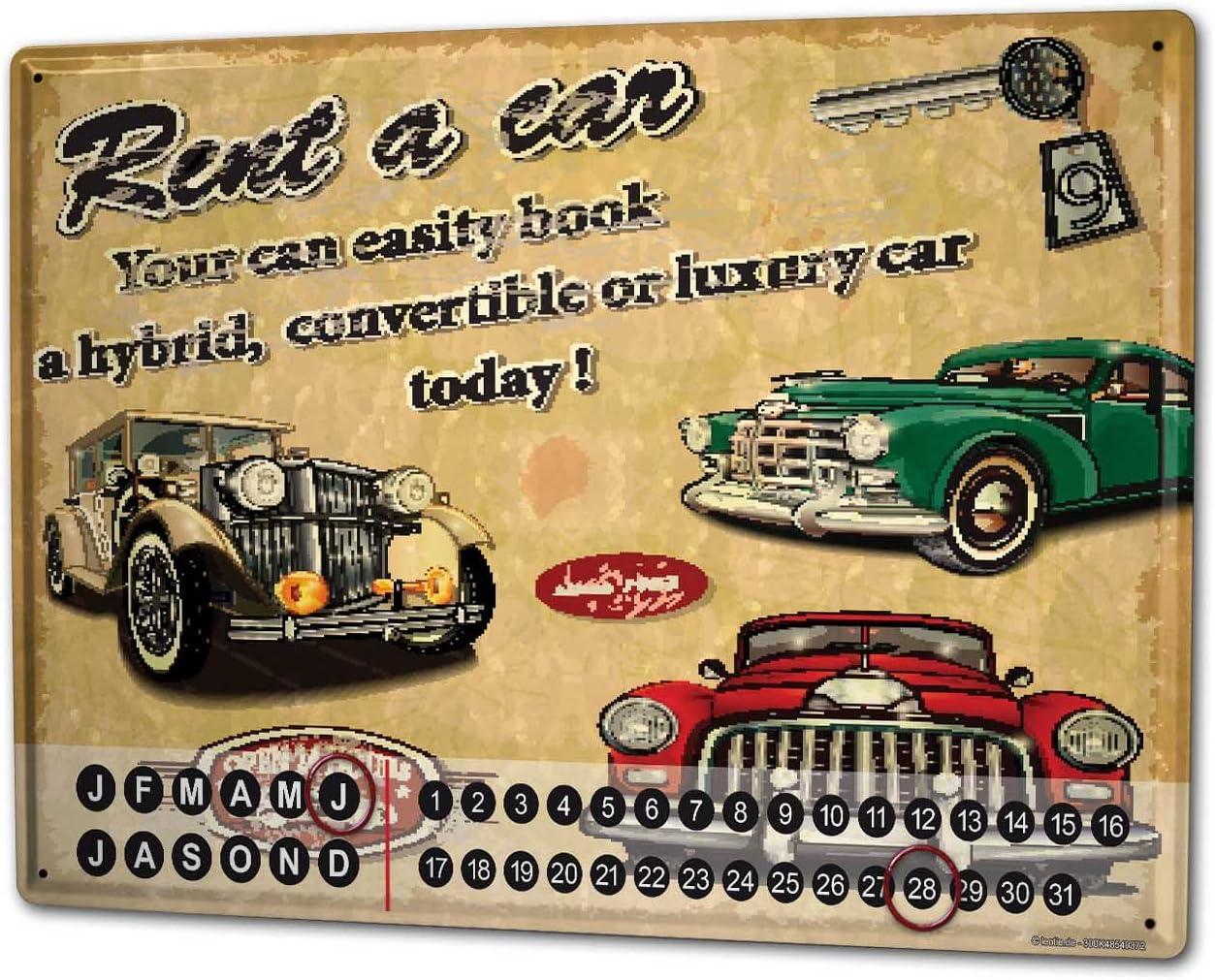 Calendrier perp/étuel Vintage voiture Location de voitures m/étal
