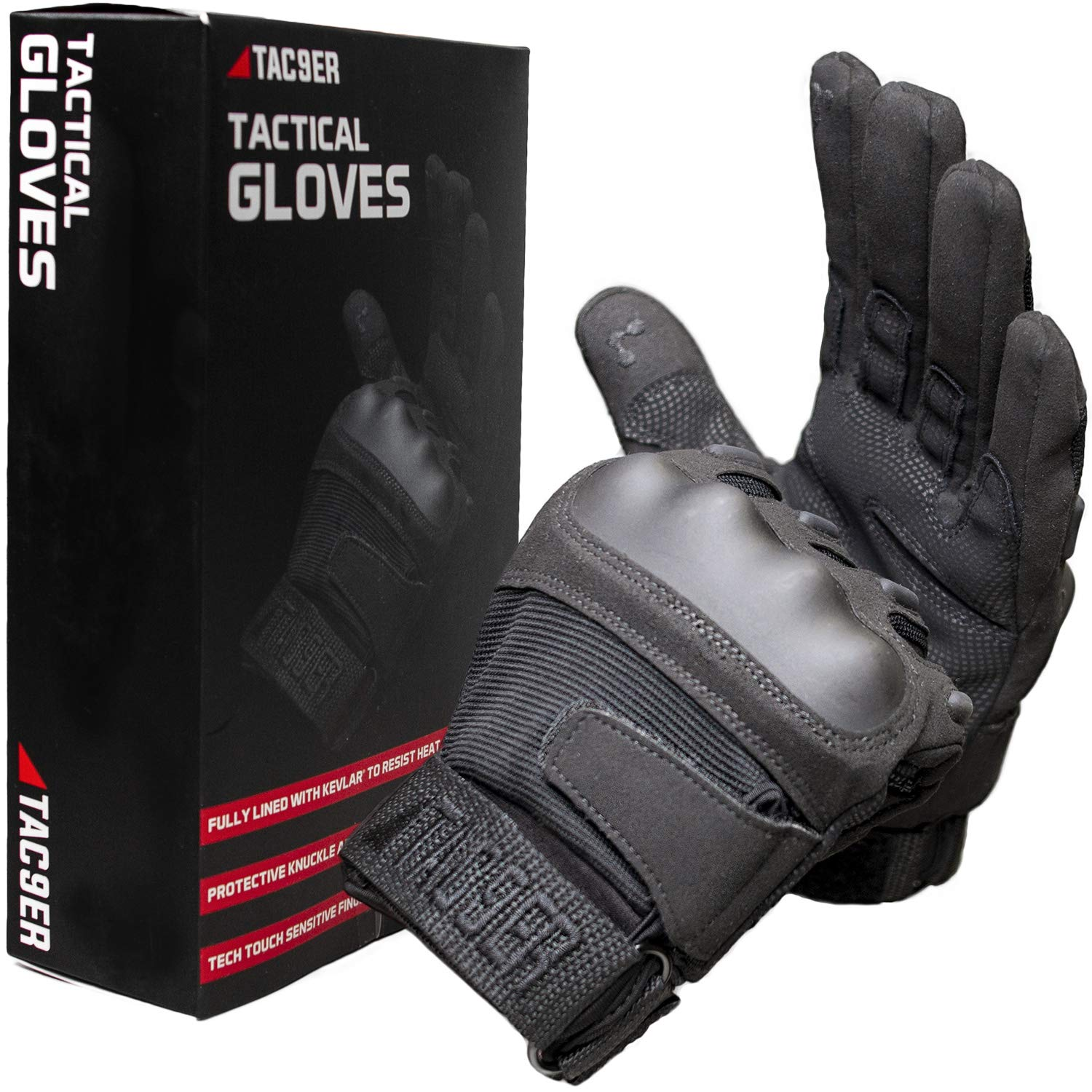 TAC9ER Military Tactical Gloves with Kevlar - Hand Protection Airsoft  Gloves with Cut and Heat Resistant, Armored Knuckles, Touchscreen Finger